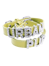 Primrose Leather Personalised Dog Collar (Diamante Letters) - Primrose Leather Personalised Dog Collar (Diamante Letters)