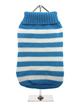 Blue & White Candy Stripe Sweater - Nothing spells out fun more than a candy stripe sweater, on these cold days and nights it brings a ray of sunshine into dull days. But it has to be practical and keep the wearer snug and warm which it does with style and panache.