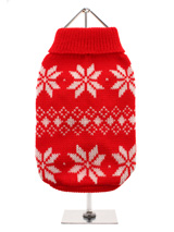 Red Snowflake Knitted Sweater  - A beautiful knitted red sweater with a cute snowflake pattern that is inspired by the landscape weather and culture of Scandinavia. A favourite on the ski slopes, this sweater is a stylish yet practical way to keep your pup warm.